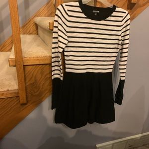 Express Black and White Knit Dress M